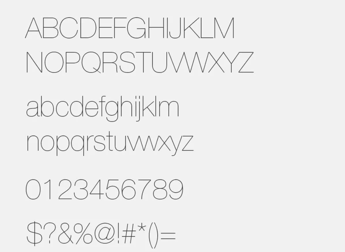 Lowvetica Ultra Thin - Helvetica Neue Font Free Alternatives