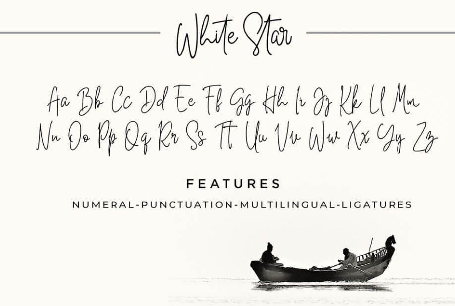white star font - White Star Handwritten Font Free Download